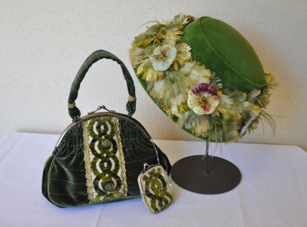 画像1: フランス製リボンを使ったバッグとコインパース (1)